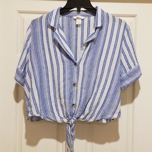 H&M Cropped Striped Front Tie Top Size 12